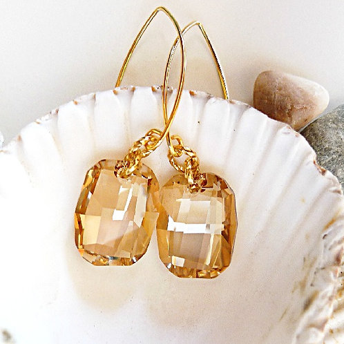 AMBER BEIGE GOLDEN SHADOW LONG EARRINGS SWAROVSKI® CRYSTALS 24K VANILLA HONEY
