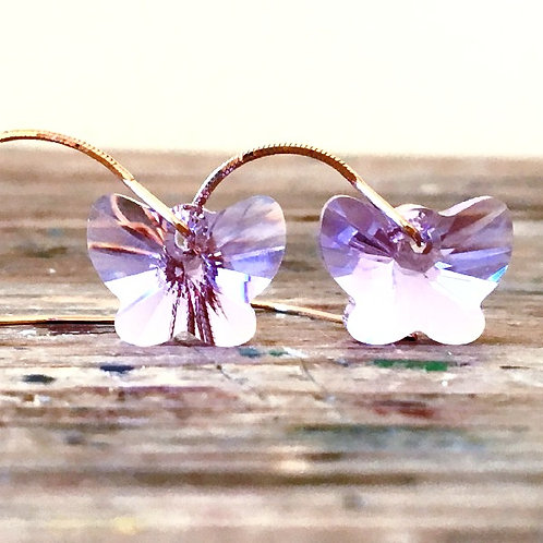 VIOLET BUTTERFLY SWAROVSKI® CRYSTALS EARRINGS CHAIN ROSE GOLD AMETHYST LILAC
