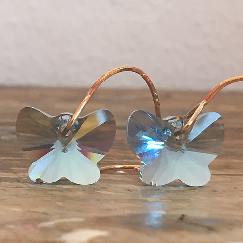 AQUAMARINE PALE BLUE BUTTERFLY SWAROVSKI® CRYSTALS DROP EARRINGS ROSE GOLD CHAIN