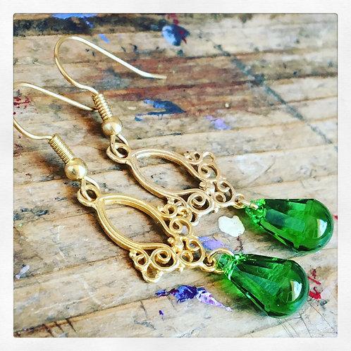 Handmade Green Swarovski Earrings