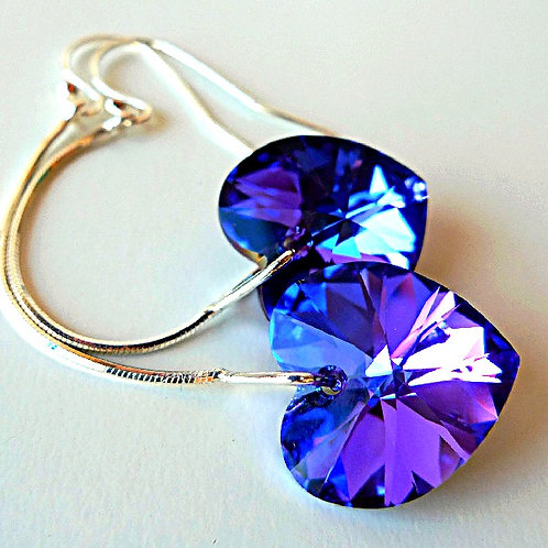 HELIOTROPE VIOLET PURPLE COBALT HEART SWAROVSKI® CRYSTALS LONG EARRINGS