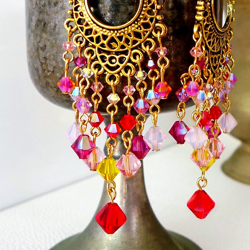 ETHNIC CHANDELIER EARRINGS WITH SWAROVSKI® CRYSTALS PINKS REDS ANTIQUED GOLD