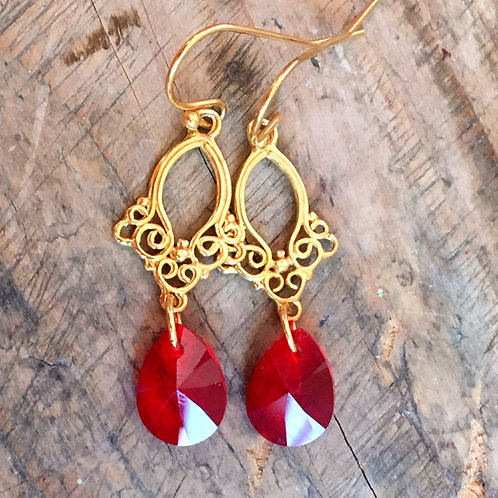 RED ARABESQUE DROP EARRINGS SWAROVSKI® CRYSTALS 24K GOLD VERMILION CORAL FLAME