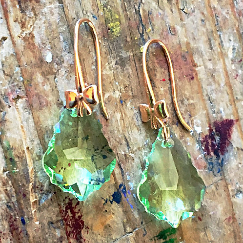 SWAROVSKI® CRYSTALS EARRINGS ROSE GOLD PERIDOT CHRYSOLITE PALE GREEN LACE