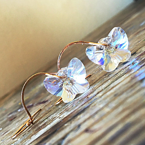 WHITE PRISM MOONSTONE BUTTERFLY EARRING WITH SWAROVSKI® CRYSTALS ROSE GOLD CHAIN
