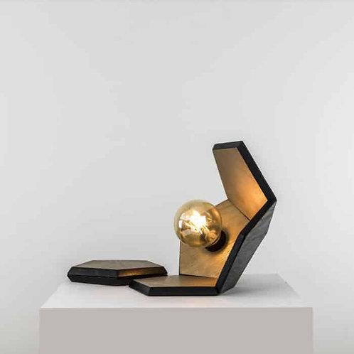 DOD - Lampe à poser bois brûlé or