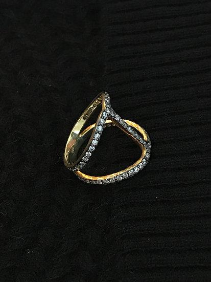 Vermeil and zirconia ring