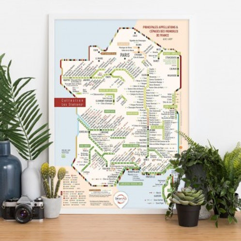 """CARTES DES VINS DE FRANCE - Carte Cépages 40x60 AOP/AOC France """"Les Stations"""" Or"""
