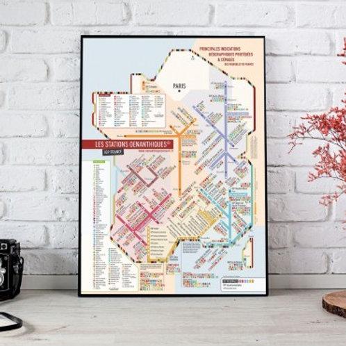 """CARTES DES VINS DE FRANCE - Carte Cépages 60x80 """"Les Stations"""" Originale"""