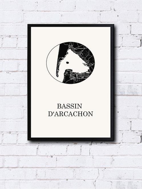 CIYOO- Carte design du BASSIN d'ARCACHON