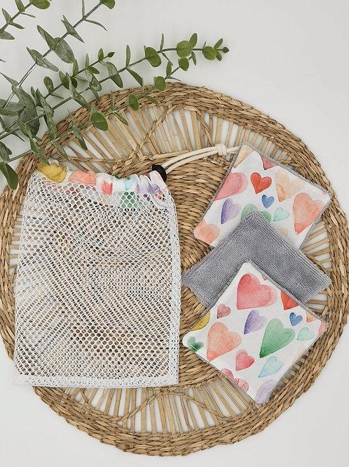 ARMANTINE - Lingettes lavables mixtes et sac filet