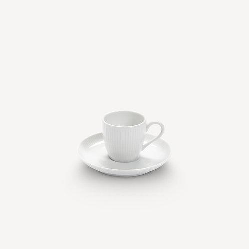 PILLIVUYT - Tasse et soucoupe à café en porcelaine Plissé