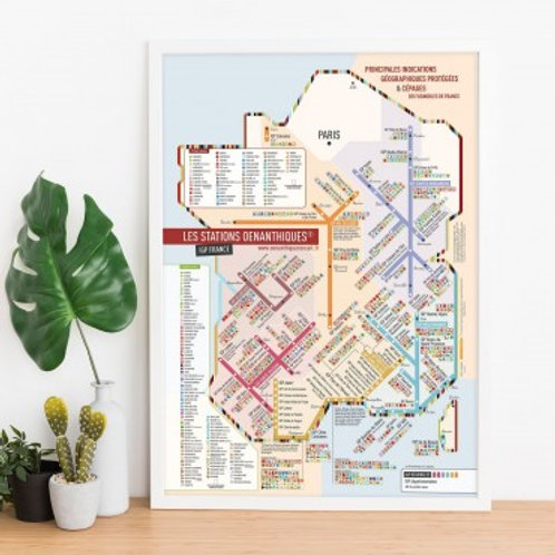 "CARTES DES VINS DE FRANCE - Carte Cépages 40x60 ""Les Stations"" Originale"