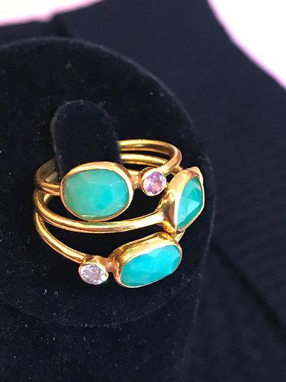 Chrysoprase and tourmaline ring