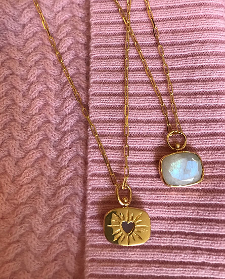 Reversible moonstone heart necklace