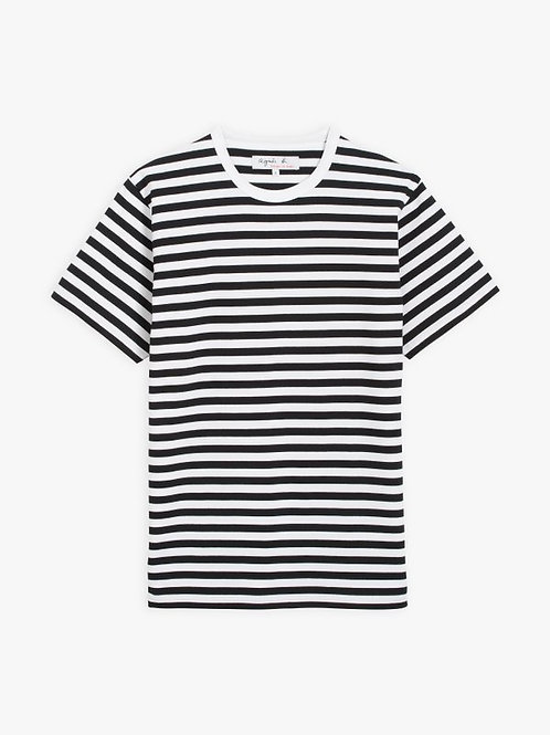 AGNÈS B - t-shirt coulos manches courtes rayé noir et blanc