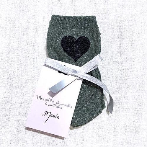 MAMEE- Chaussettes grises foncées à paillettes coeur brodé