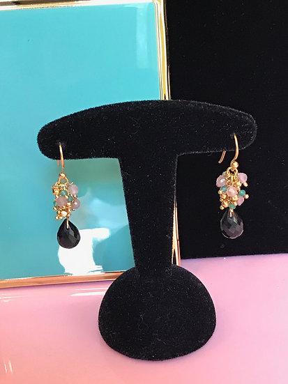 Vermeil and black onyx earrings