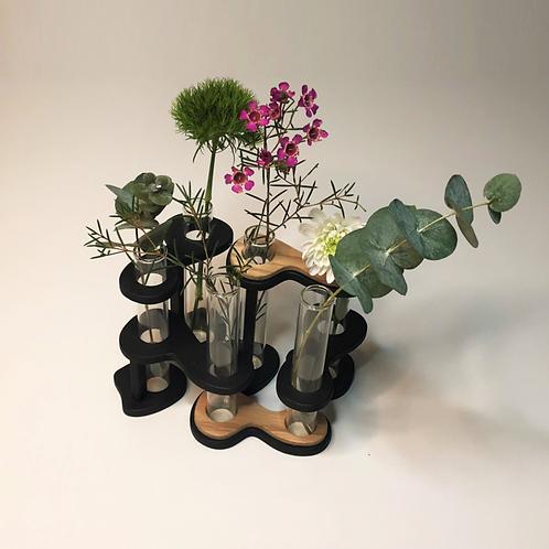 """DIKROMA - Vase en verre et bois """"SixFleurs"""""""