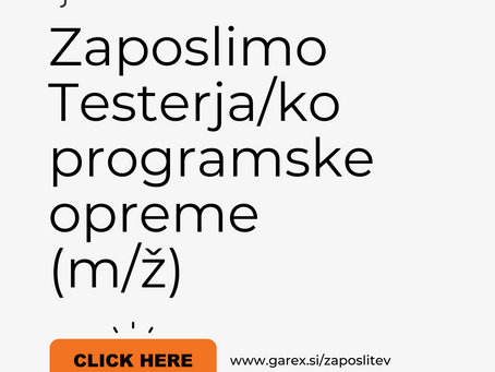 Išče se tester ali testerka programske opreme / Software Tester
