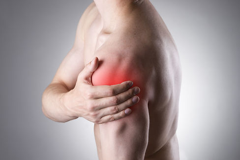 Man with pain in shoulder. Pain in the h