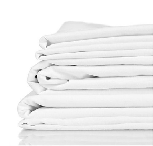 100% Organic Bamboo Twill Queen Size Bed Sheet Set, white
