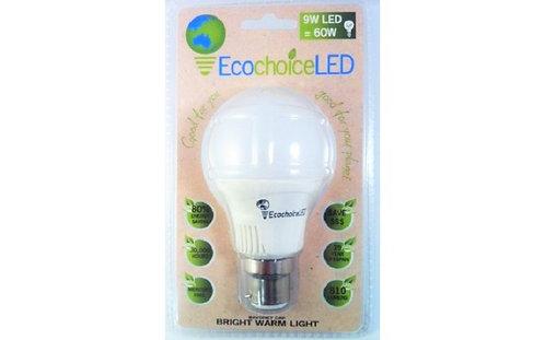 Ecochoice LED Bayonet Cap 9W, Globe