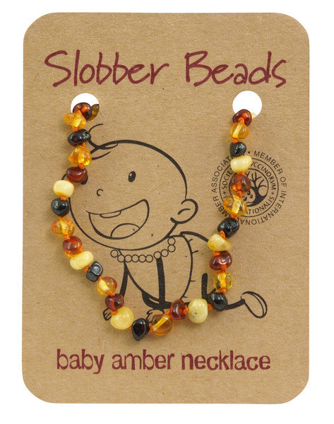 Slobber Beads Baltic Amber Necklace Multi, Round