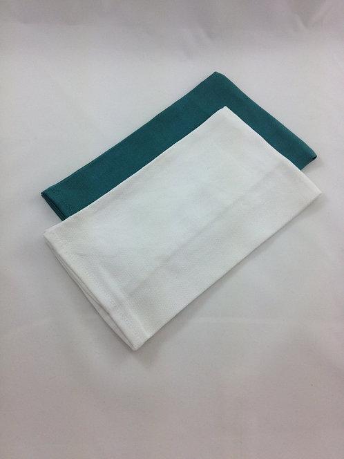 100% Cotton Tea Towels, Jade & White, 2 Pack