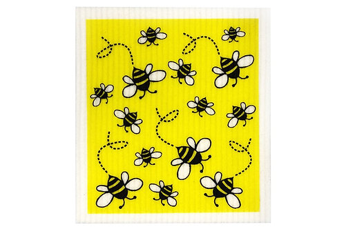Retro Kitchen Sponge Biodegradable Dish Cloth - Bees