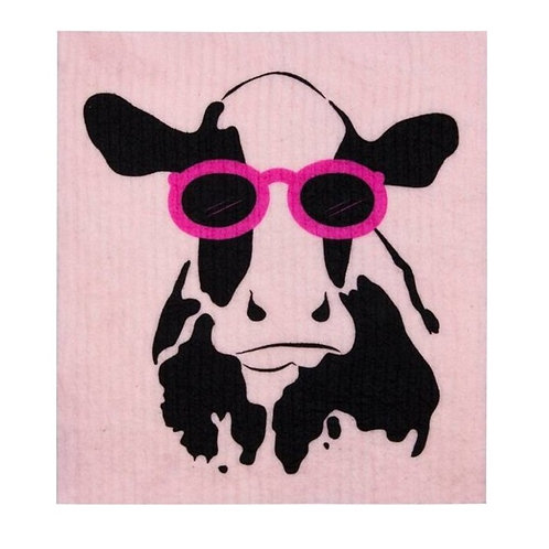 Retro Kitchen Sponge Biodegradable Dish Cloth - Cow