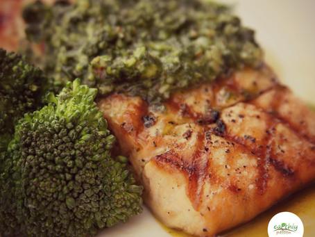 Easy peasy roasted salmon pesto