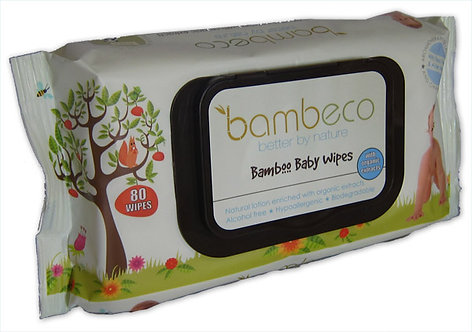 Bambure Natural Bamboo Baby Wipes, 80 wipes per pk