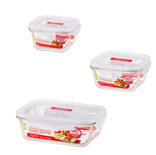 Lock & Lock Food Glass Container Set