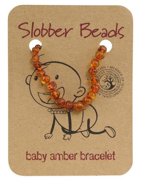 Slobber Beads Baltic Amber Bracelet Cognac, Round