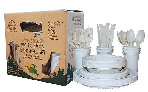 EcoSouLife 140PC Disposable Set Biodegradable Cornstarch, Natural