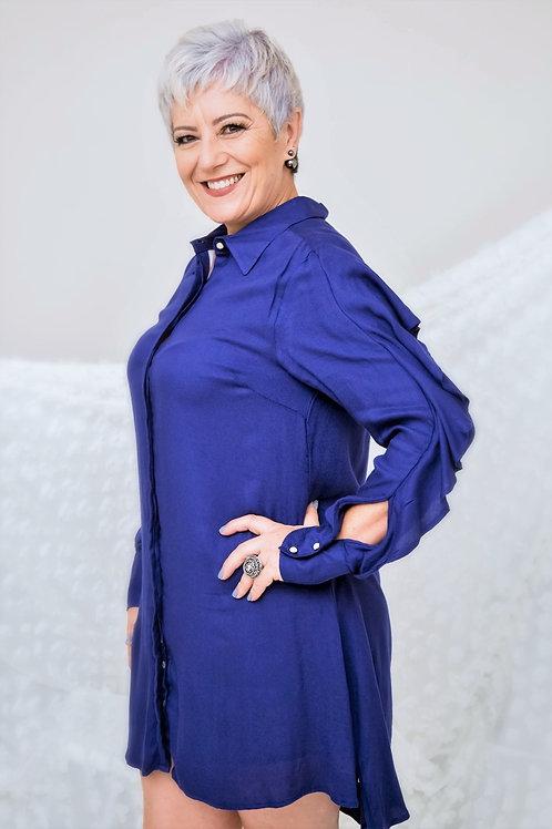 Vestido Babado - Azul