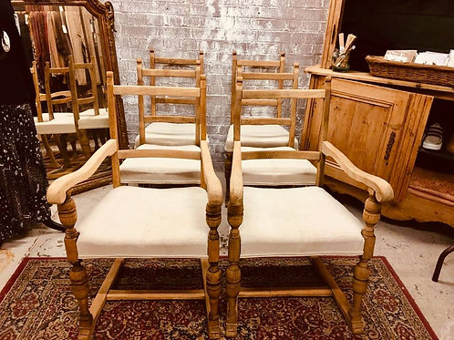 Set of 6 linen dining chairs
