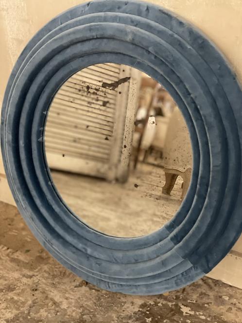 Round velvet mirror