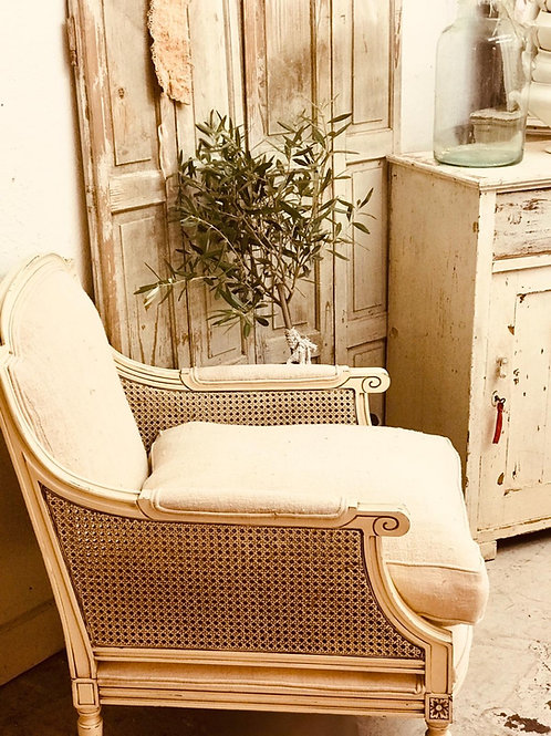 Cane chair and foot stool set