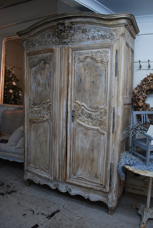 Description: A Stunning French Armoire Which Has Been Stripped Back To The  Natural Blonde Wood. Beautiful Carvings And Patina To The Wood.