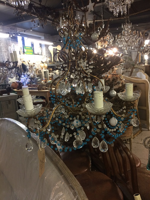 Pretty French blue and clear beaded Chandelier
