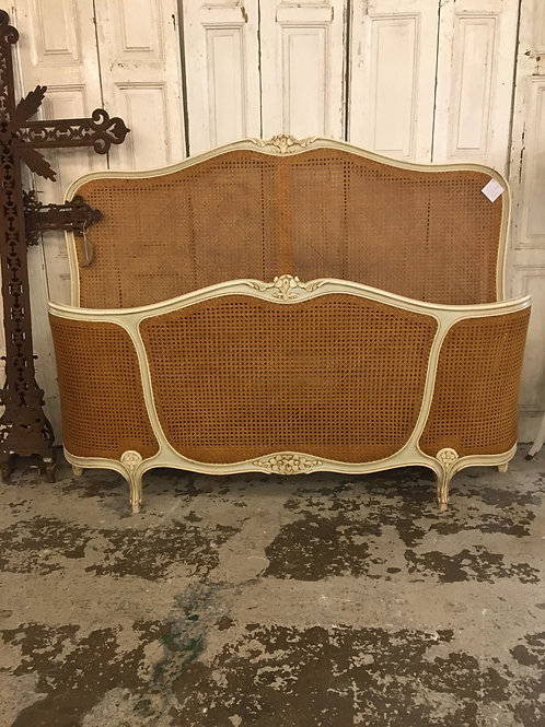French rattan double demi corbeille bed