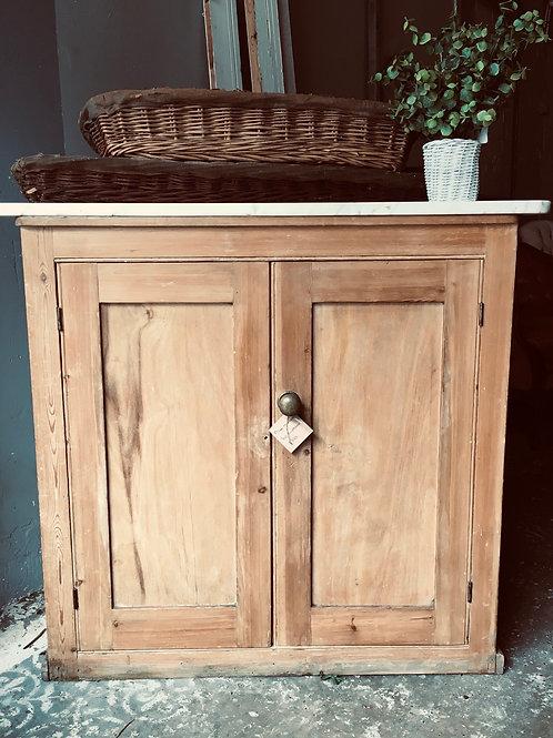 Marble top pine cupboard