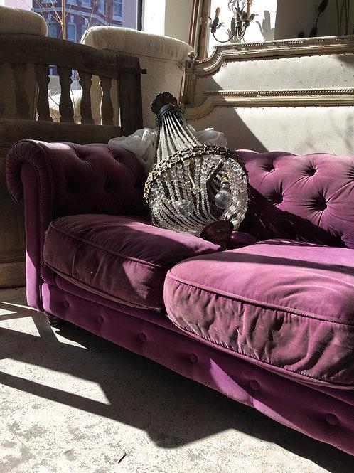 Purple velvet chesterfield