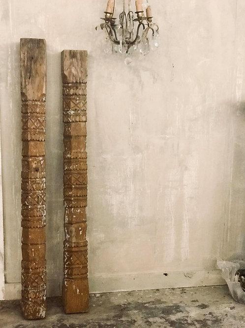Pair of Decorative Carved Wood Pillars