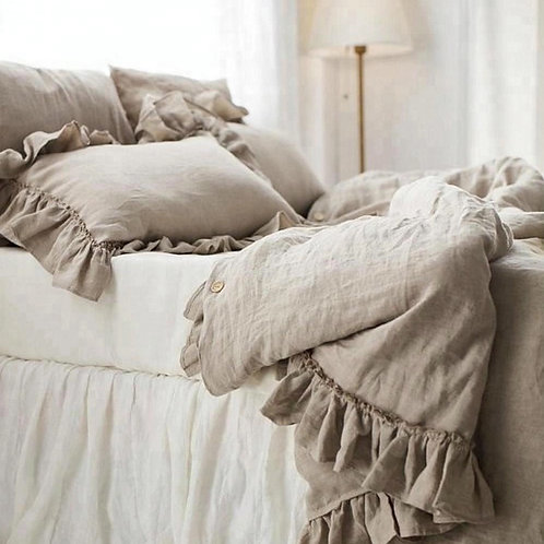 Super King 100% Flax stonewashed linen bedding set