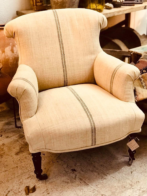 Linen covered armchair