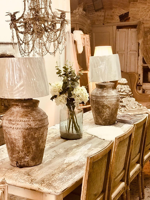 Pair of stone look lamps