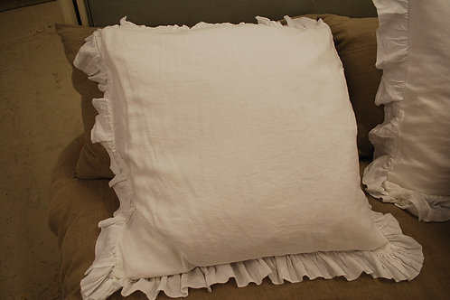 Frill edged 100% French Flux linen large pillow